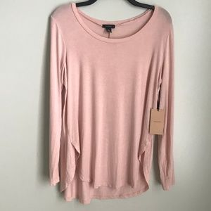 New Halogen Long Sleeve Blouse Slit Sides